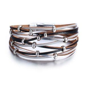 Multilayer leather wrap bracelet